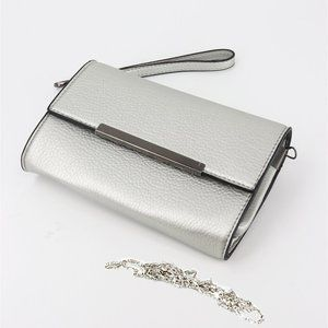 Leather Wristlet Clutch/Crossbody Purse - Silver